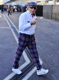 Sir Jackie Stewart's trousers, yesterday