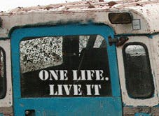 A sticker on a Land Rover, yesterday